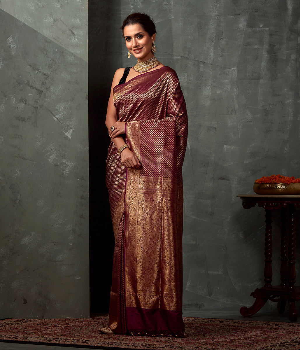 Handwoven Wine Katan Silk saree with Small Paislye Motifs Woven in Zari