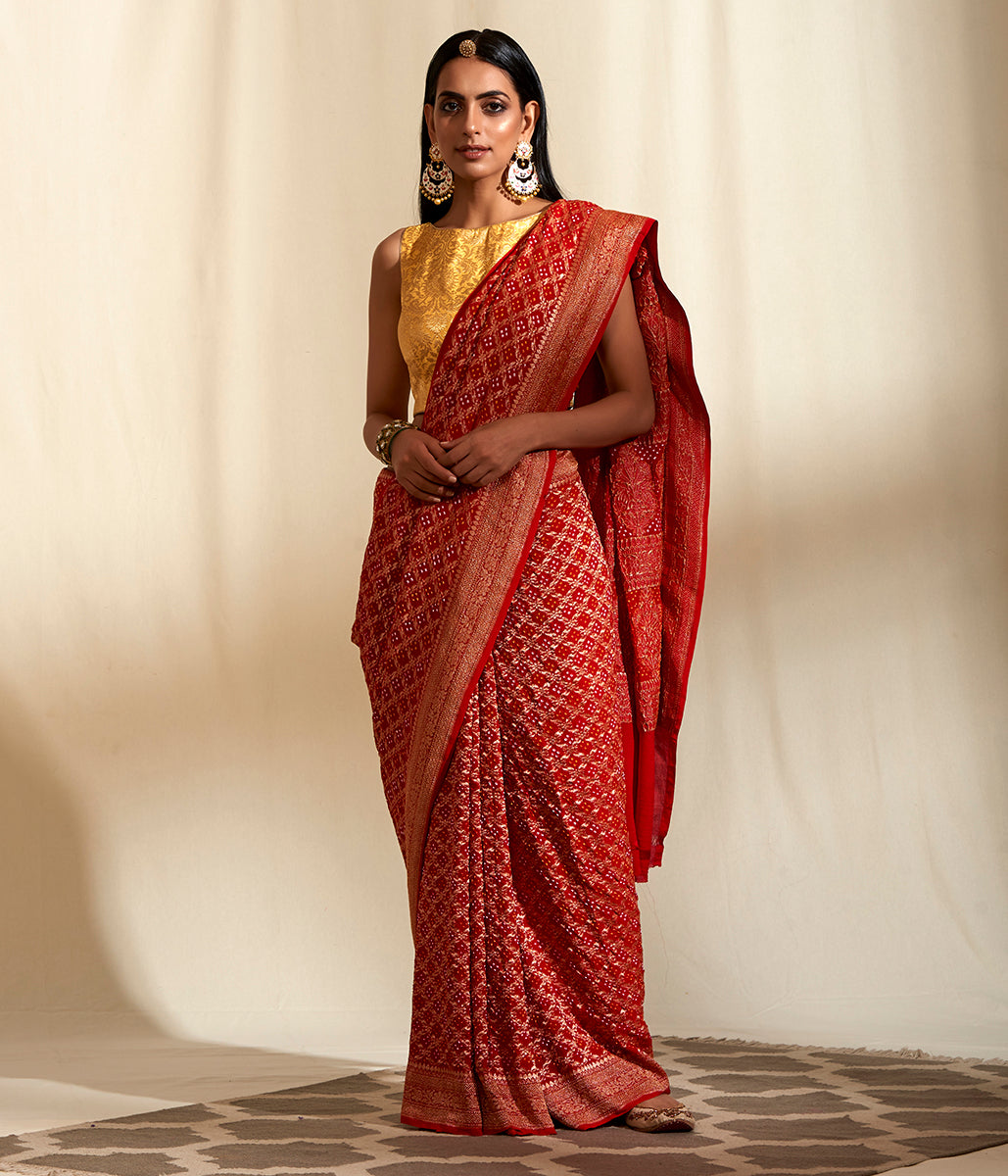 Handwoven Banarasi Bandhej Double Zari Saree in Red