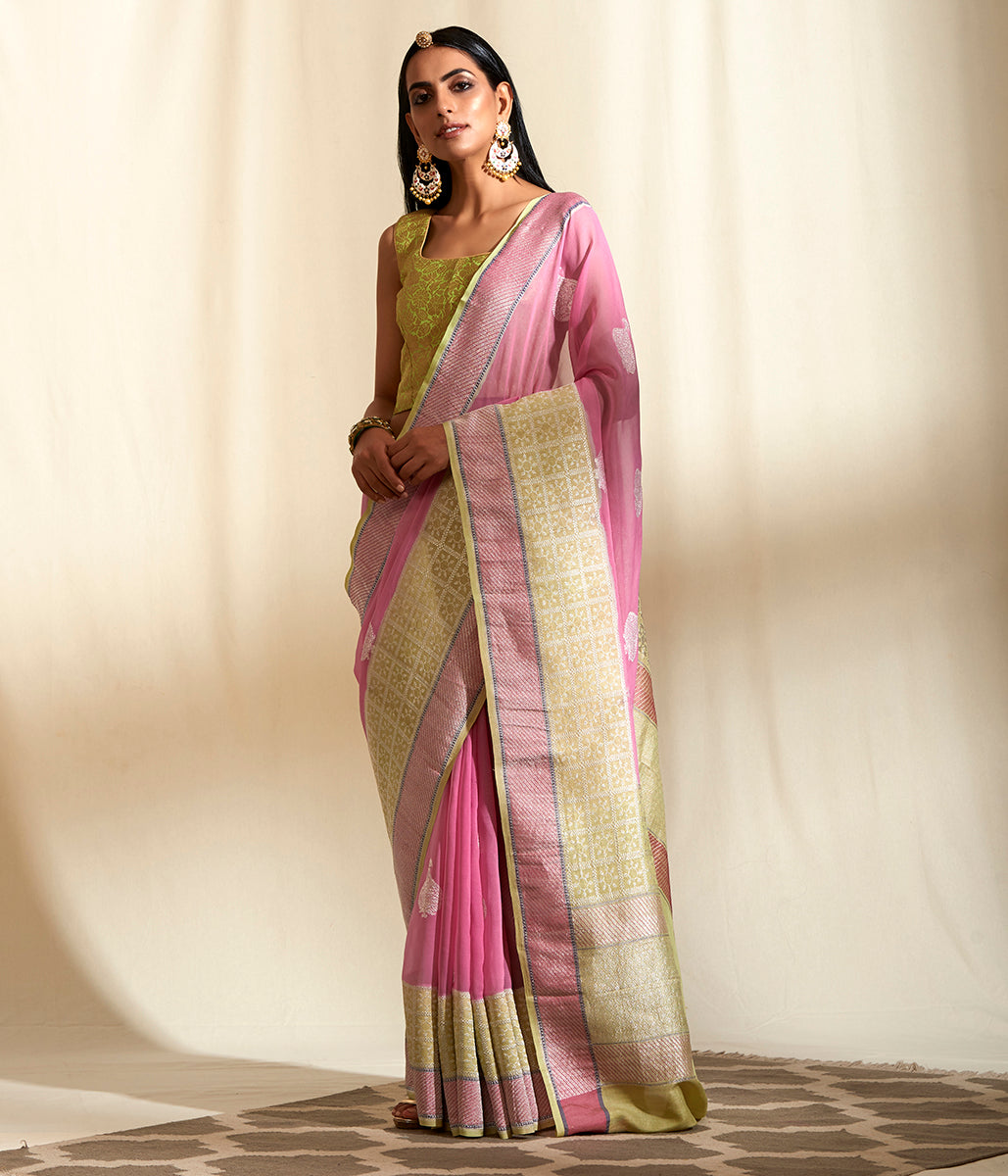 Handwoven Pink Banarasi Georgette saree with Pista Green Border Woven in Tusser