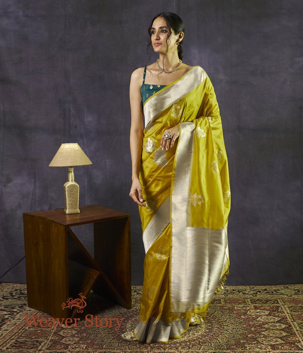 Handwoven Mustard Yellow Kadhwa Weave Saree with Floral Booti