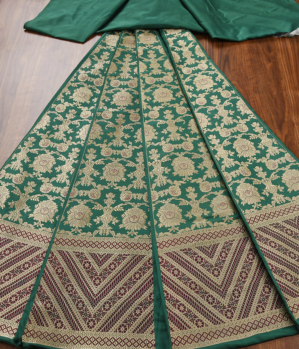 Handwoven Green Meenakari lehenga with red border