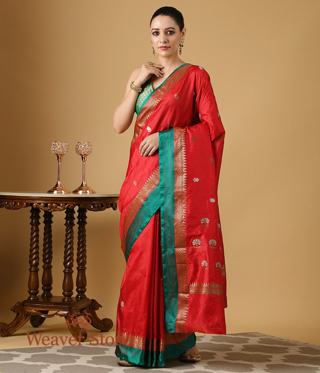 Handwoven Red Kadhwa Floral Boota Saree with Green Border