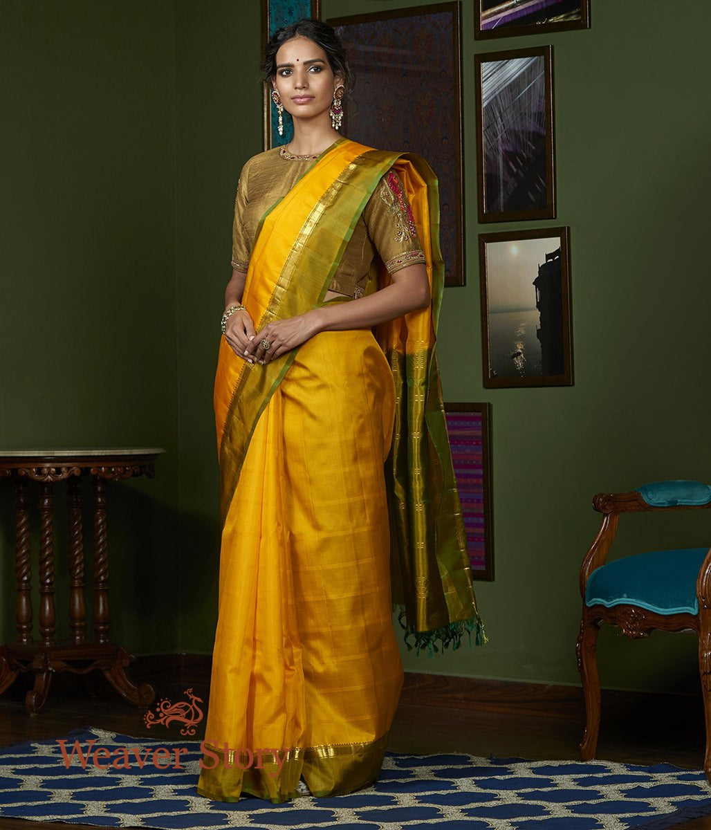 Handwoven Yellow Kanjivaram Silk Saree with Green Border