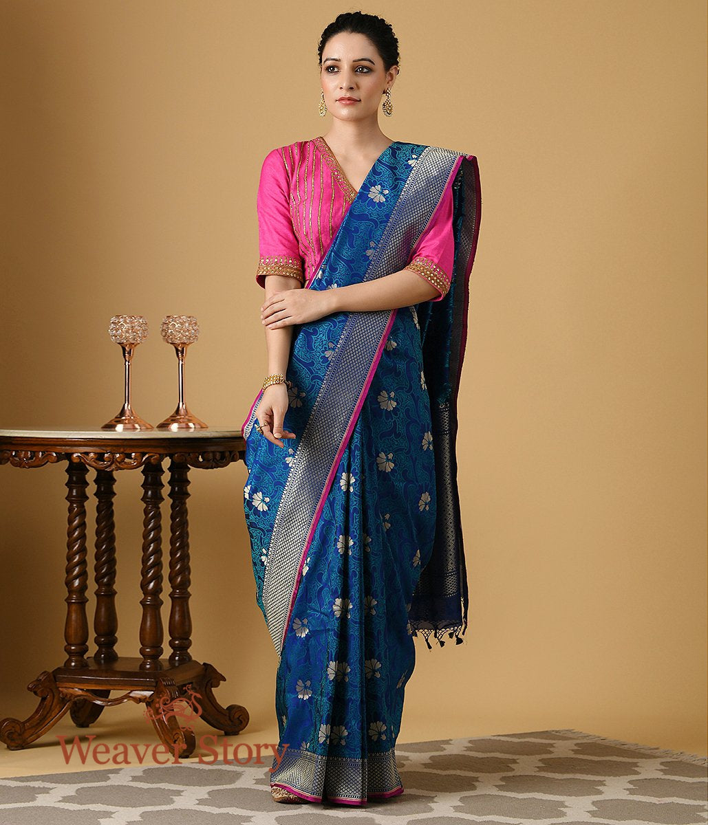 Handwoven Blue Summer Silk Saree