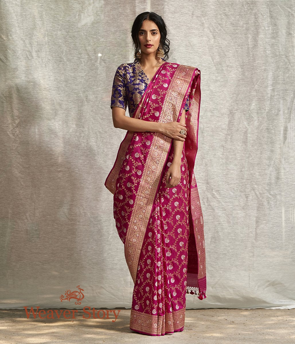 Handwoven Pink Sona Rupa Kadhwa Jangla Saree with All Over Floral Weave