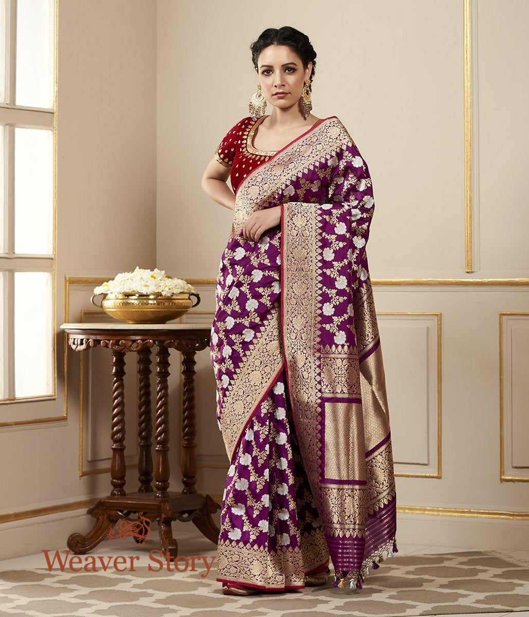 Handwoven Purple Sona Rupa Kadhwa Saree with a Floral Jaal