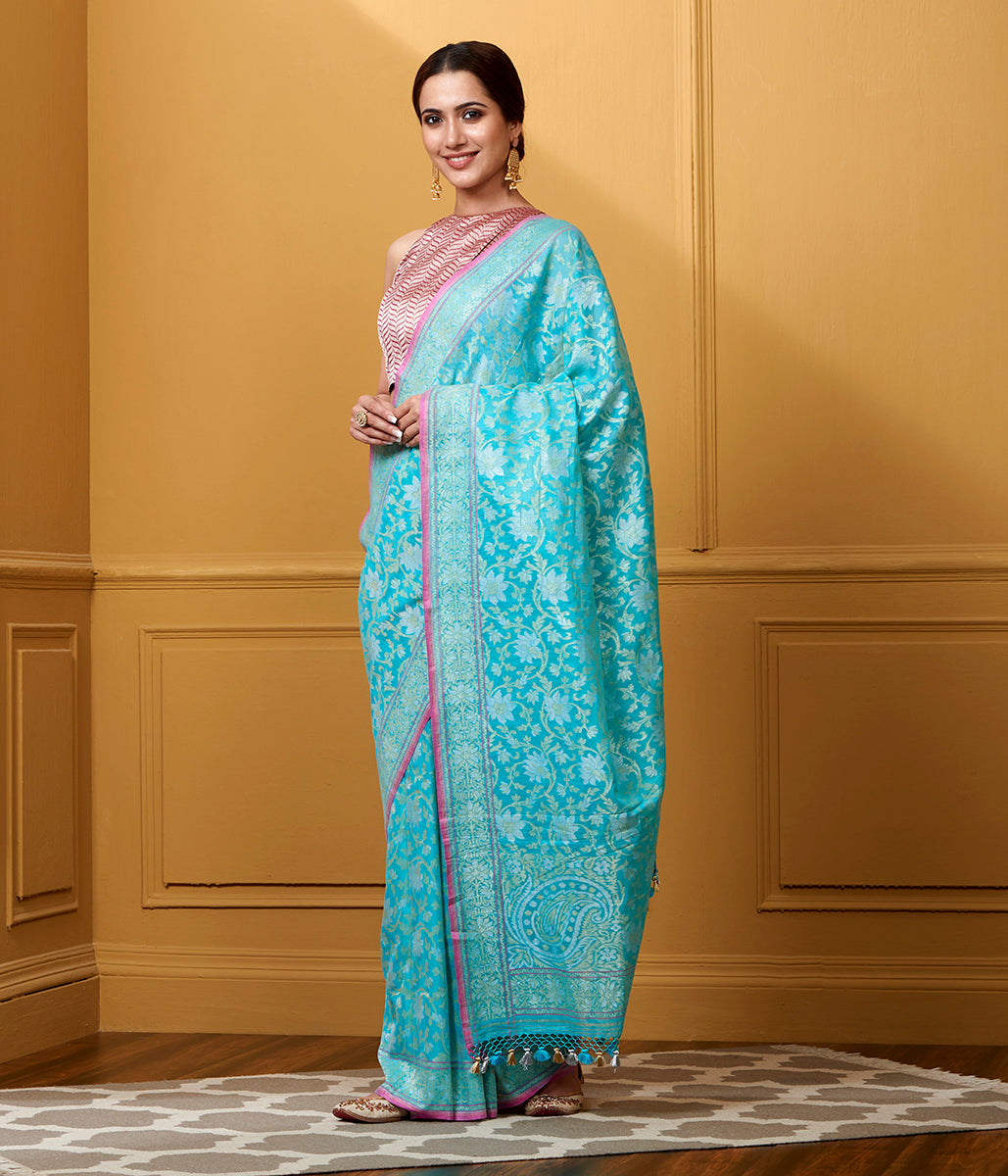 Handwoven Sky Blue Nilambari Cutwork Cotton Jangla Saree