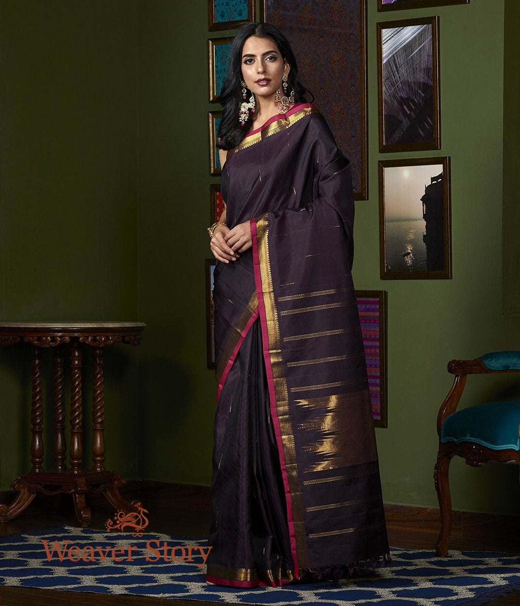 Handwoven Wine Kanjivaram Silk Saree with Red and Gold Border