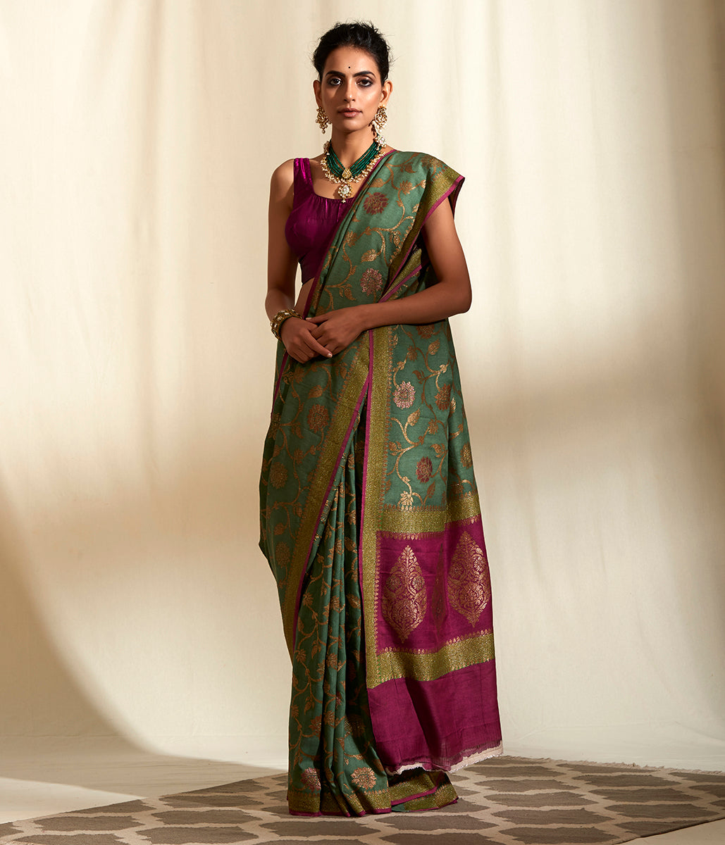 Handwoven Olive green munga silk saree with floral jangla