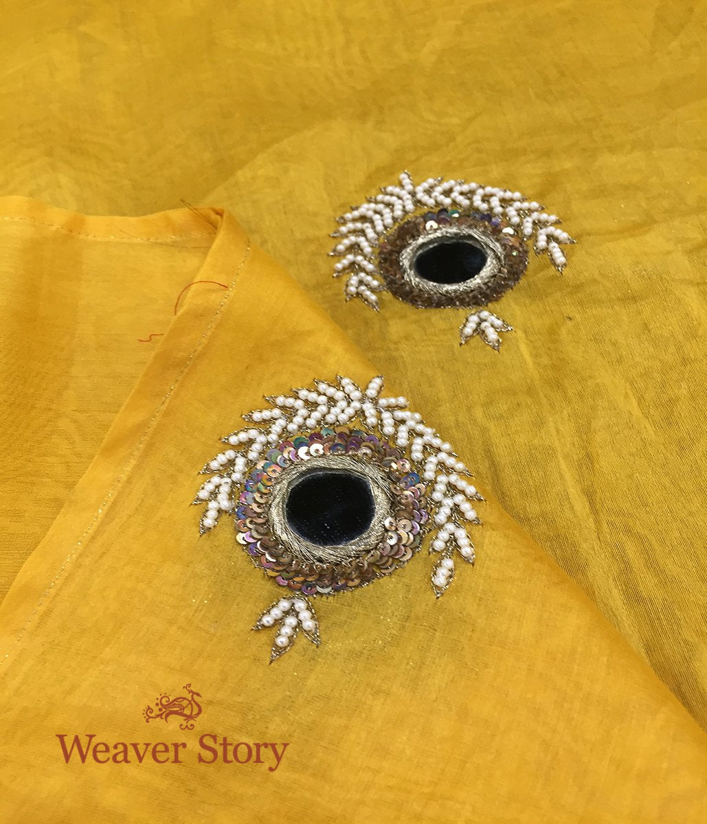 Handwoven Yellow Chanderi Dupatta with Hand Embroidery