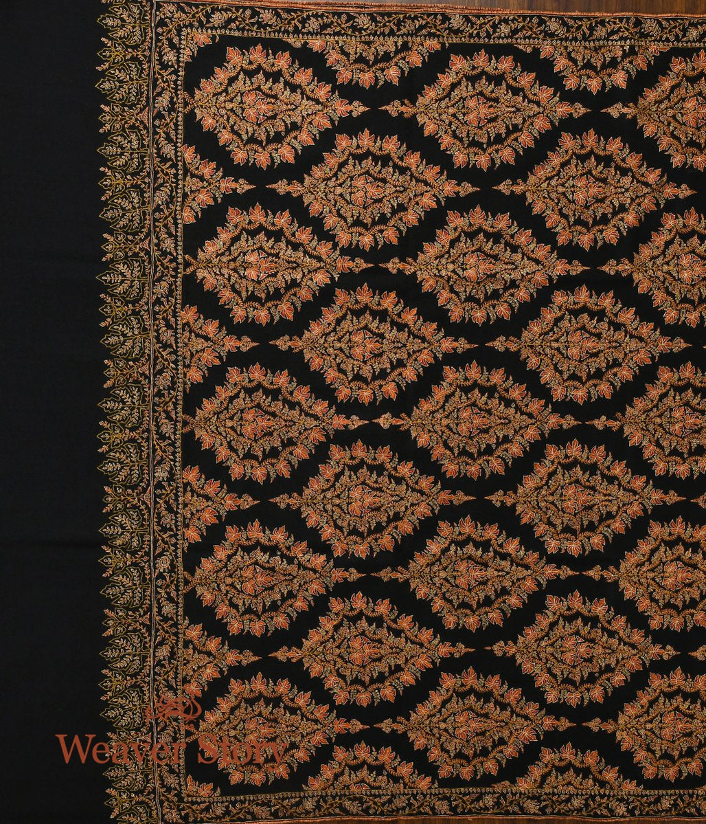 Black Pure Pashmina Jamawar Shawl with Sozni Work