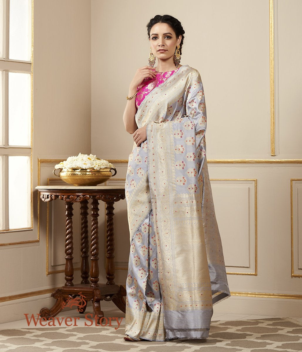 Handwoven Grey Kadhwa Booti Banarasi Saree with Beldaar Border