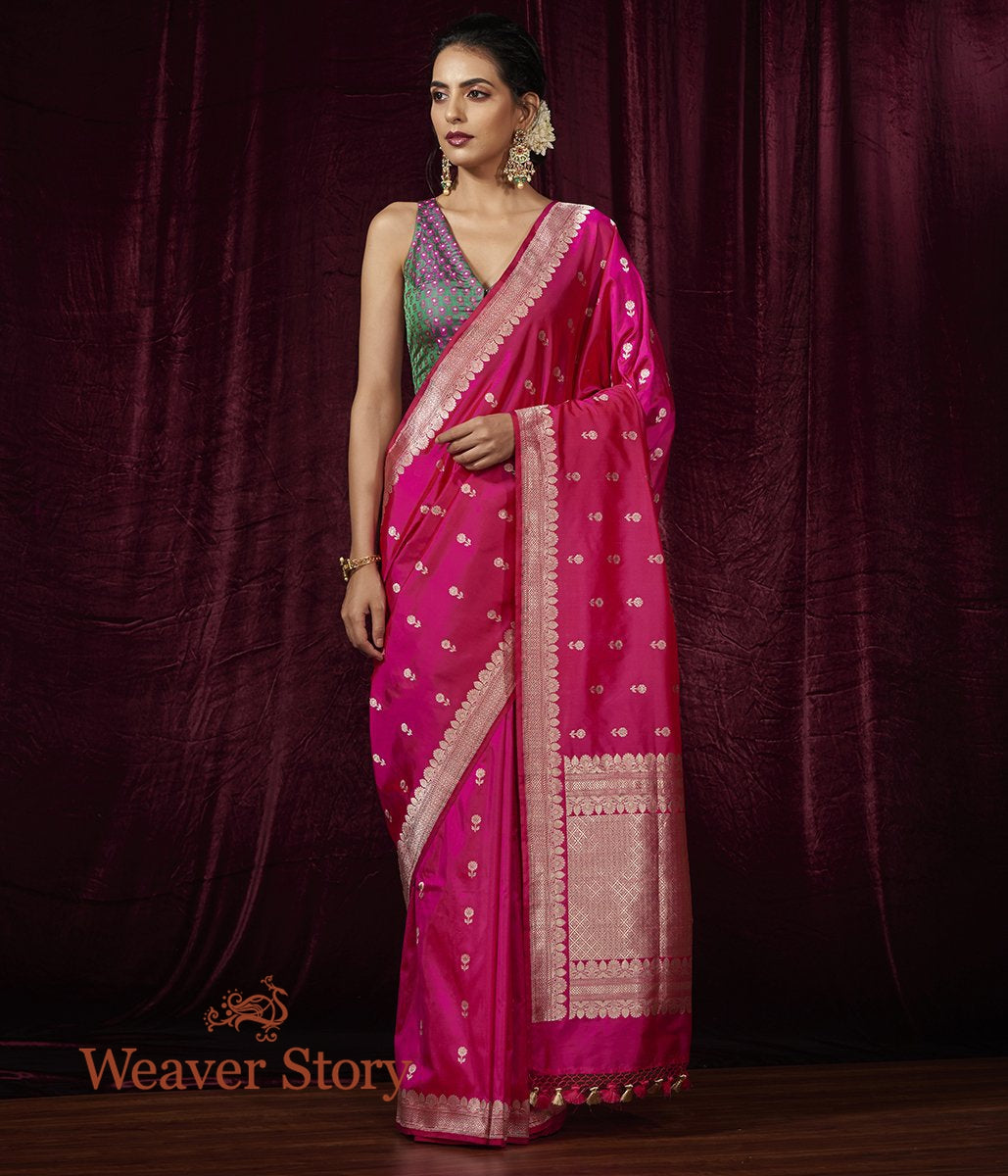 Handwoven Hot Pink Katan Silk Saree with Small Floral Booti