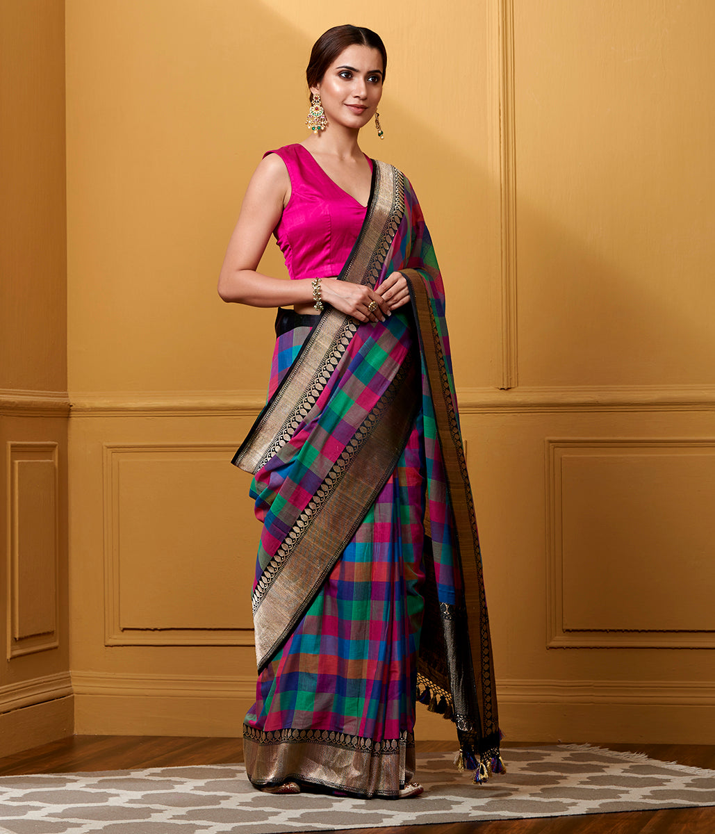 Handwoven Multicolor Cotton Checks with antique zari border