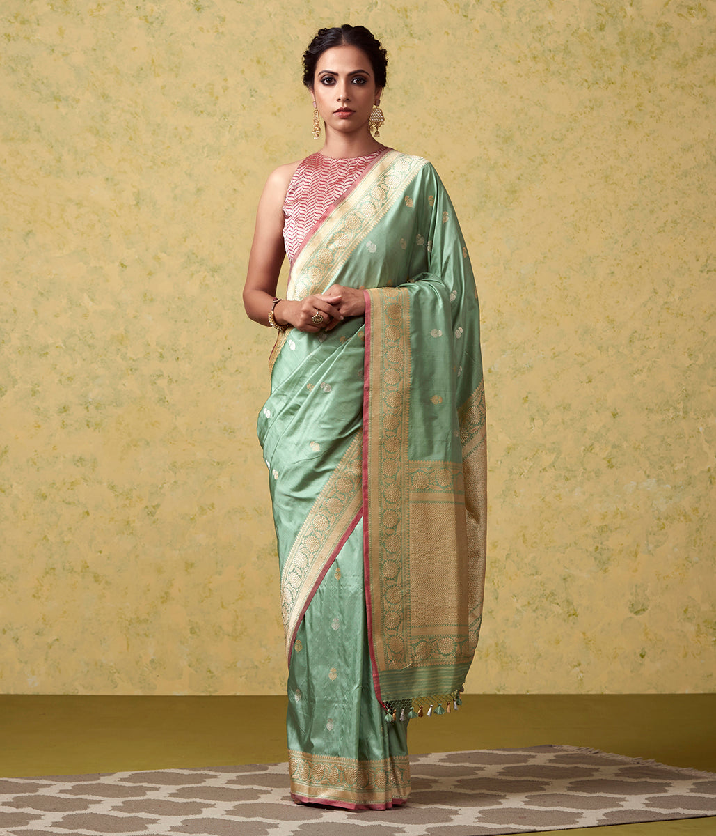 Handwoven Light Green Kadhwa Booti with Heavy Brocade Blouse
