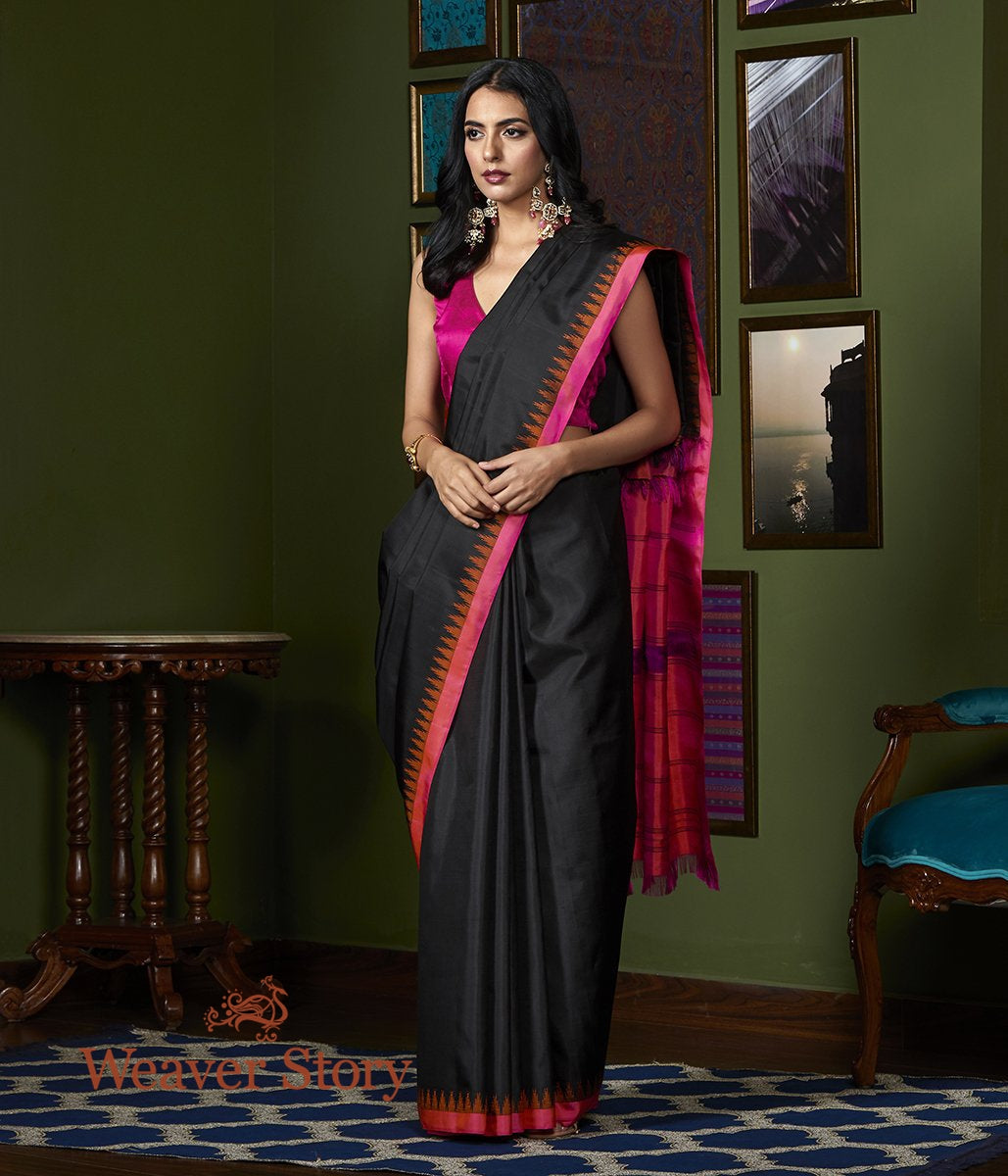 Handwoven Black Kanjivaram Silk Saree with Pink Temple Border