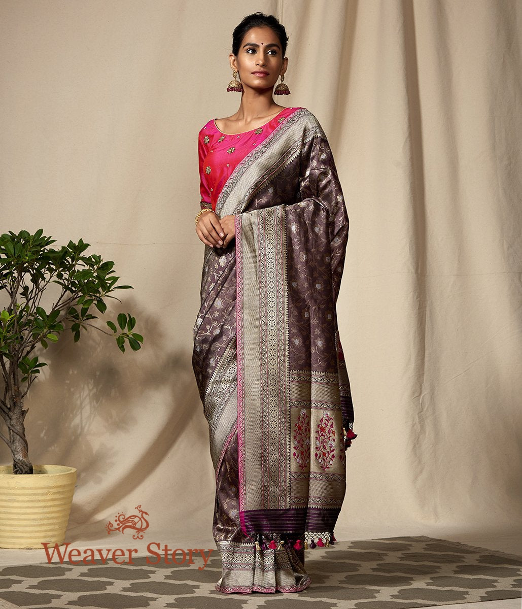 Handwoven Wine Banarasi Kimkhab Saree with Brocade Blouse