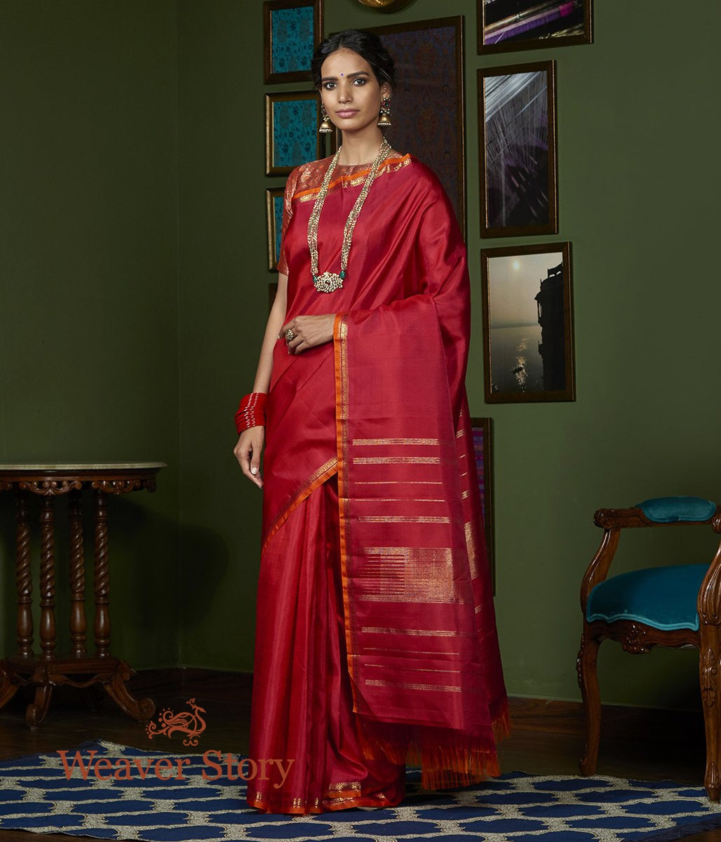 Handwoven Red Rani Kanjivaram Saree with Orange Selvedge
