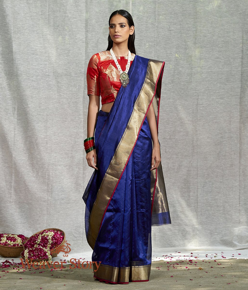 Handwoven Blue Plain Silk Cotton Saree with Solid Zari Border