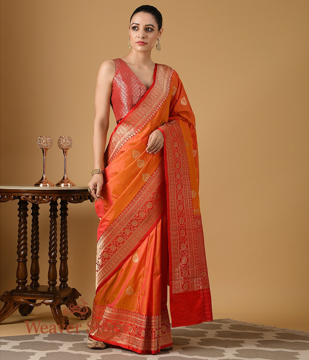 Handwoven Orange Katan Silk Banarasi with Red Border