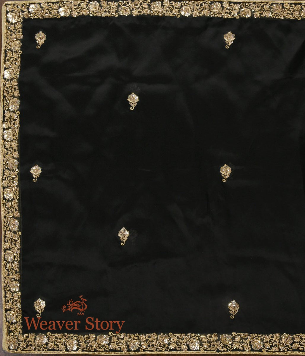 Black Zardozi Dupatta with Floral Border and Booti