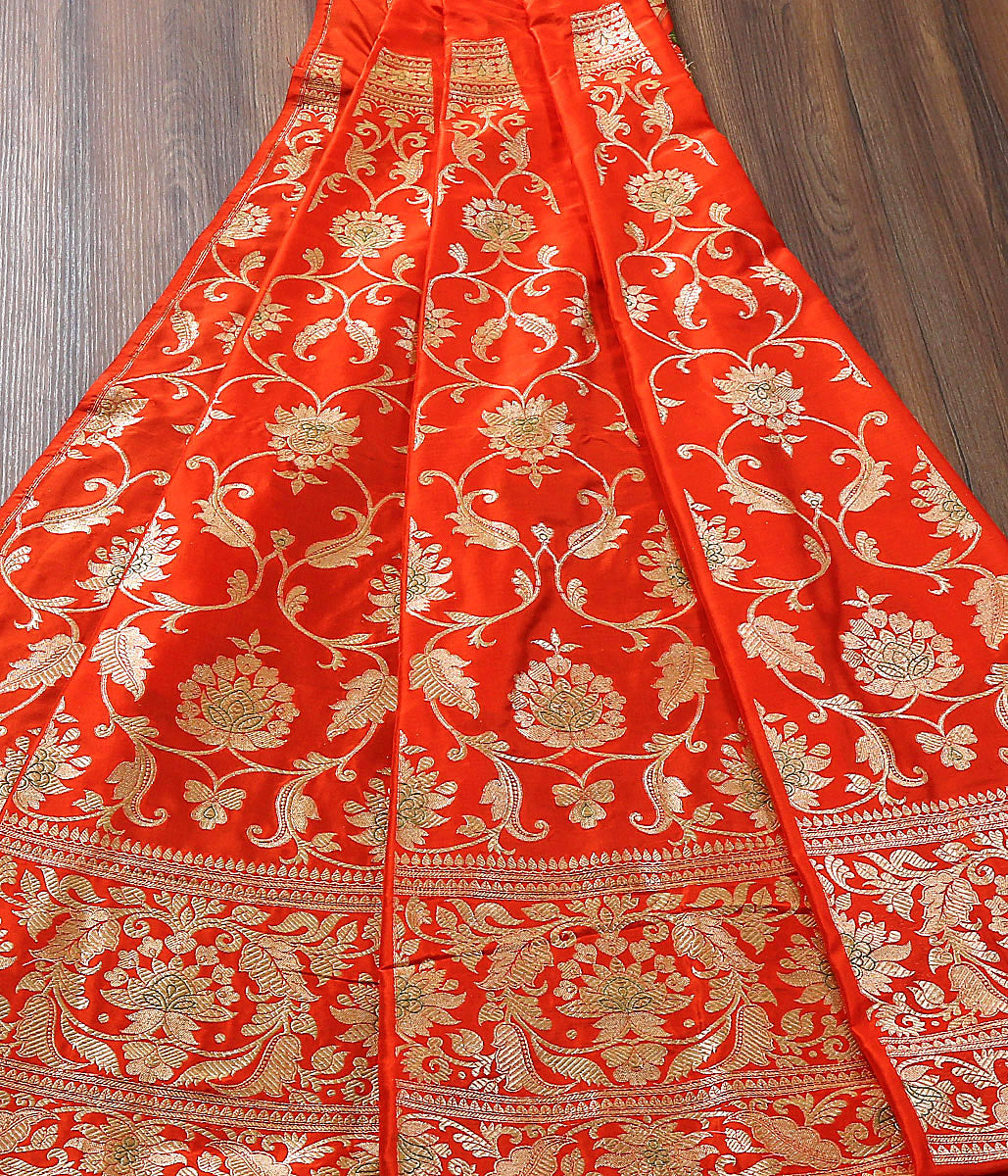 Handwoven Banarasi Tomato Red Lehenga with Meenakari