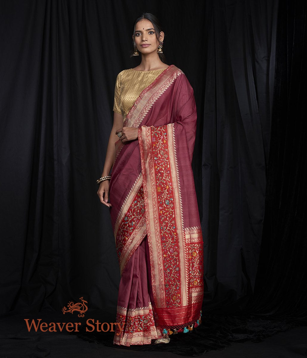Handwoven Wine Tusser Banarasi Saree with Five Color Meenakari Border