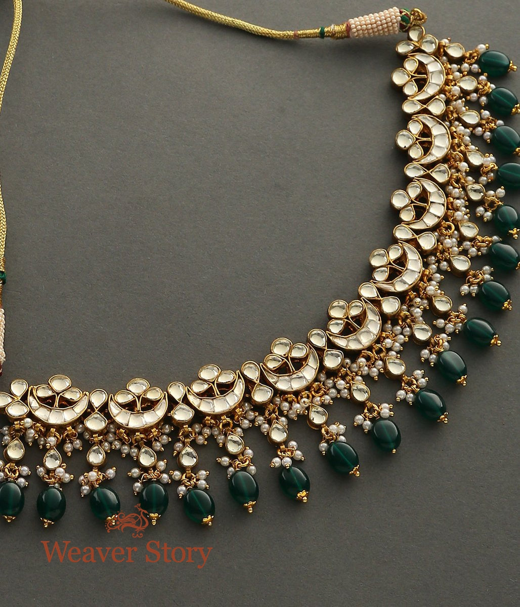 Golden Kundan Necklace with Crecent Motifs