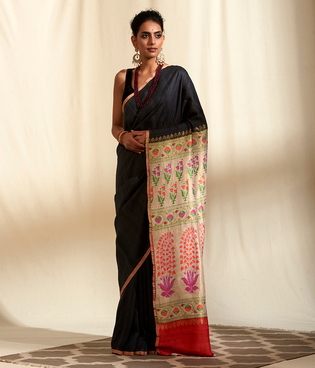 Handwoven Charcoal Grey Tusser Georgette saree with Paithani Palla