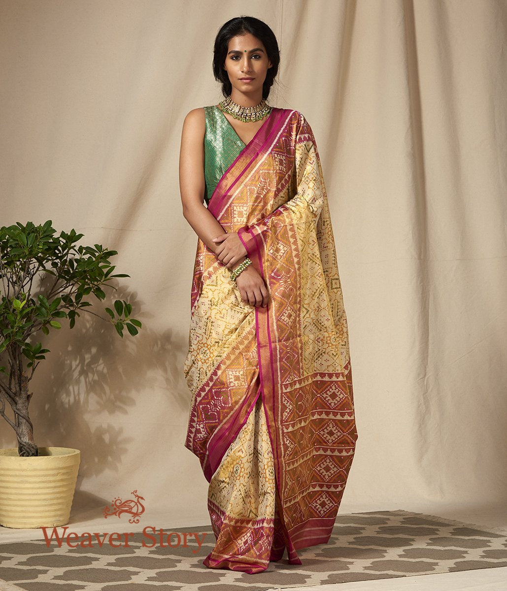 Handwoven Silk Tissue Gujarat Patola Saree in Cream and Pink