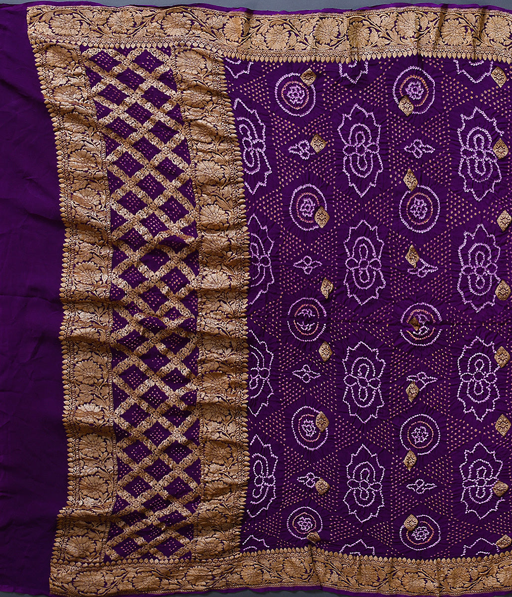 Handwoven Purple Bandhej Dupatta with Kadhwa Booti