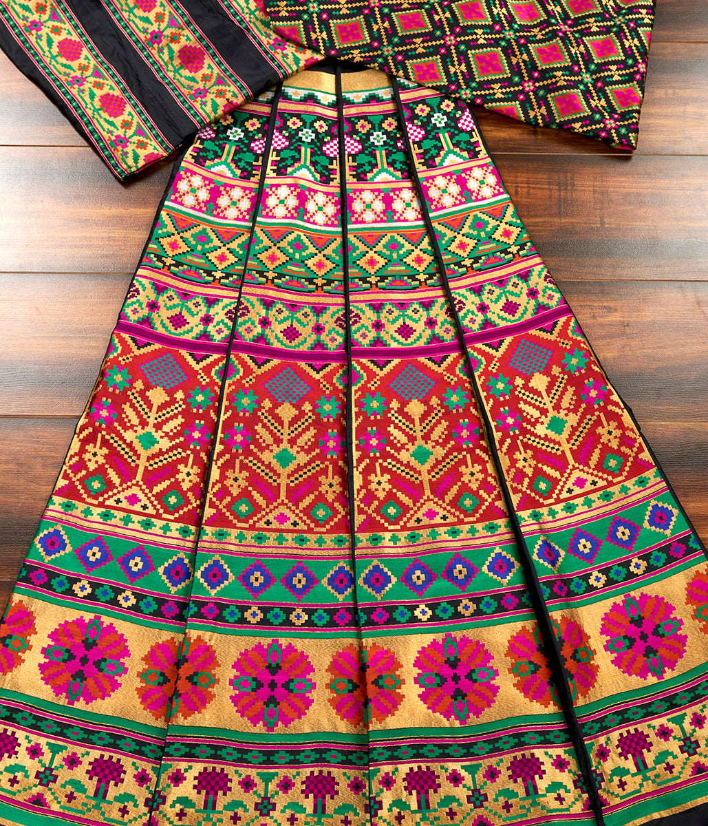 Handwoven Black Patola Lehenga with Meenakari