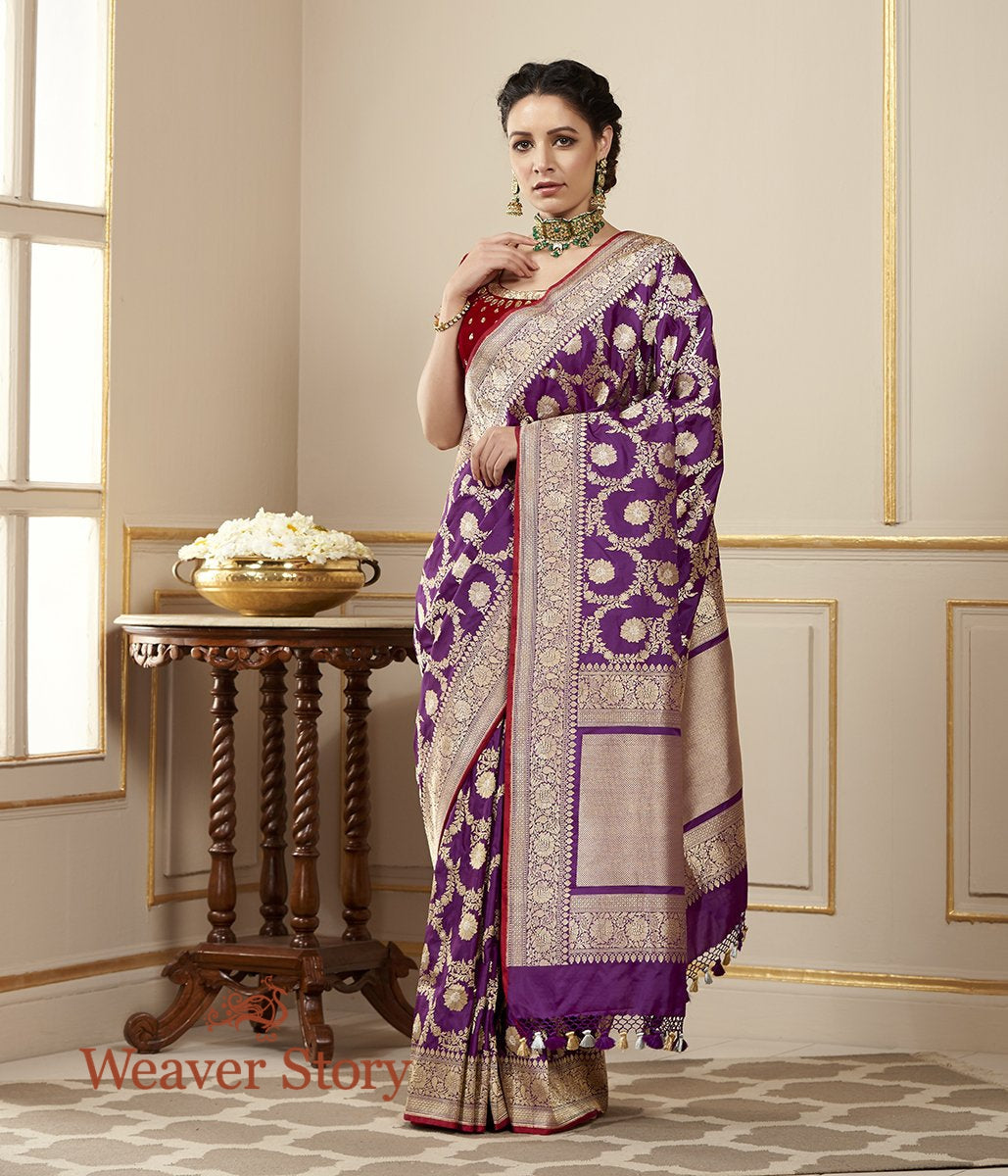 Handwoven Purple Kadhwa Jangla Saree with Sona Rupa Zari