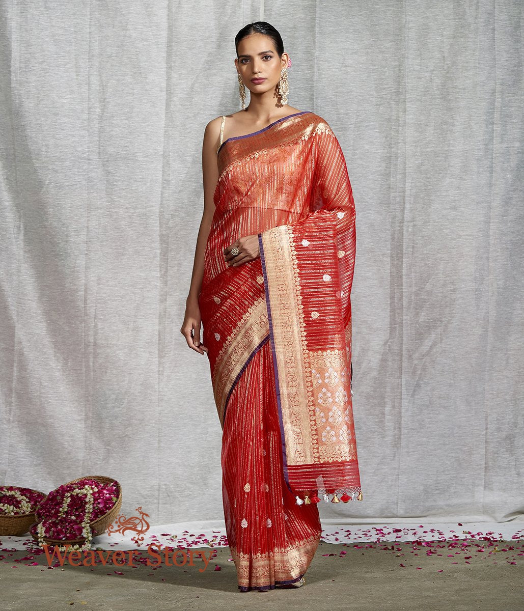 Handwoven Red Kora Silk Banarasi Saree