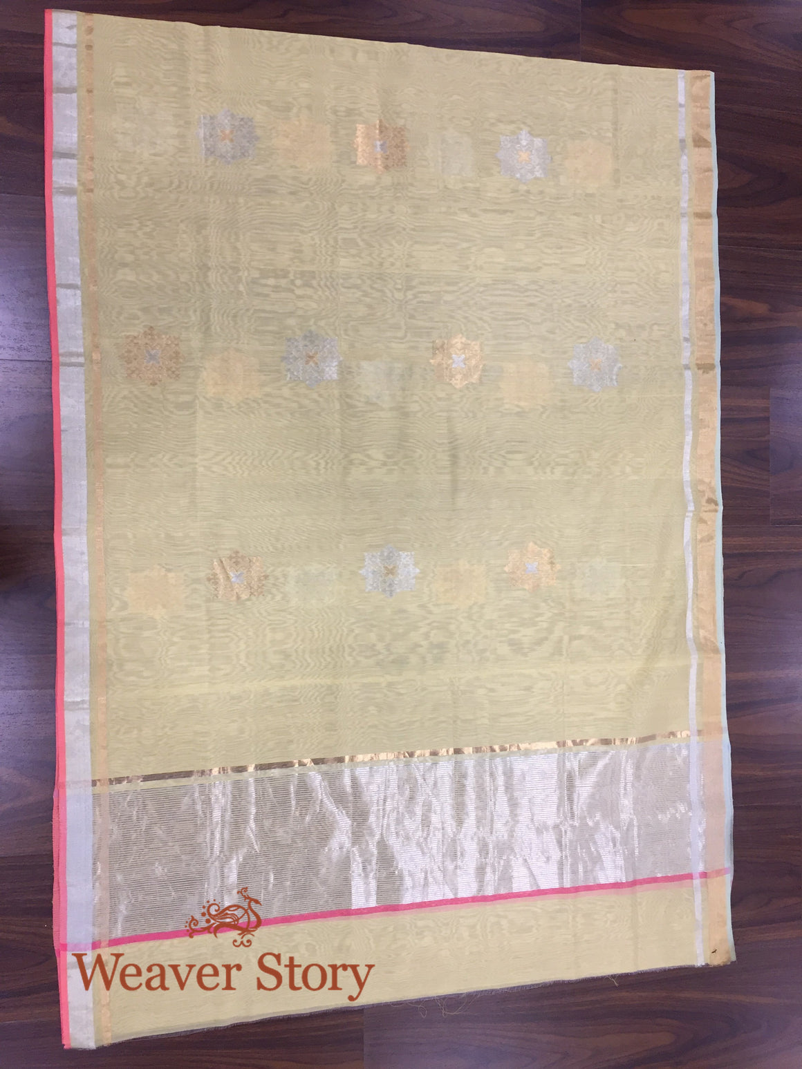 Handwoven Yellow Chanderi Cotton Silk Dupatta