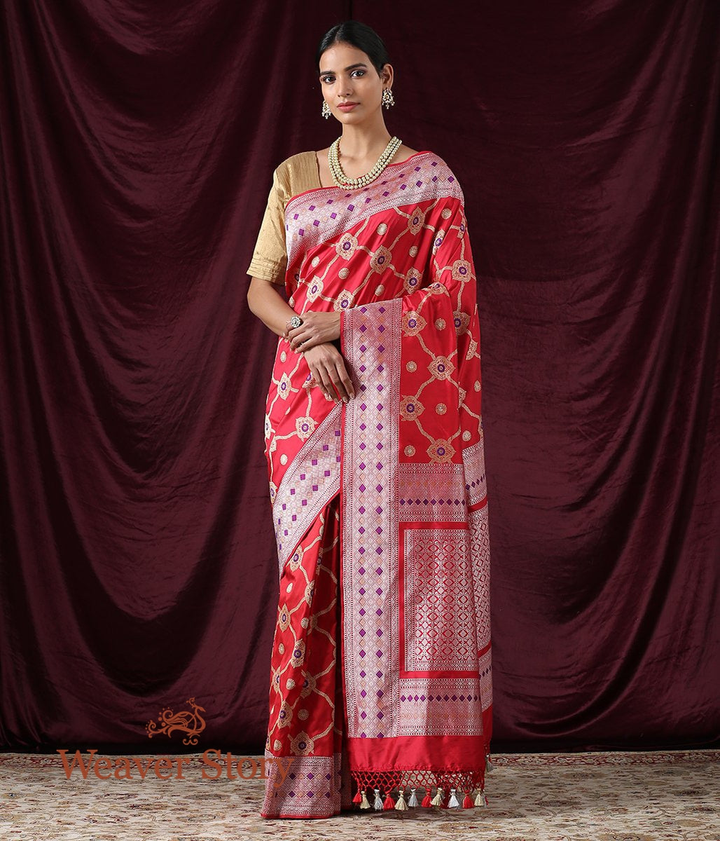 Handwoven Red Kadhwa Jangla Saree with Meenakari