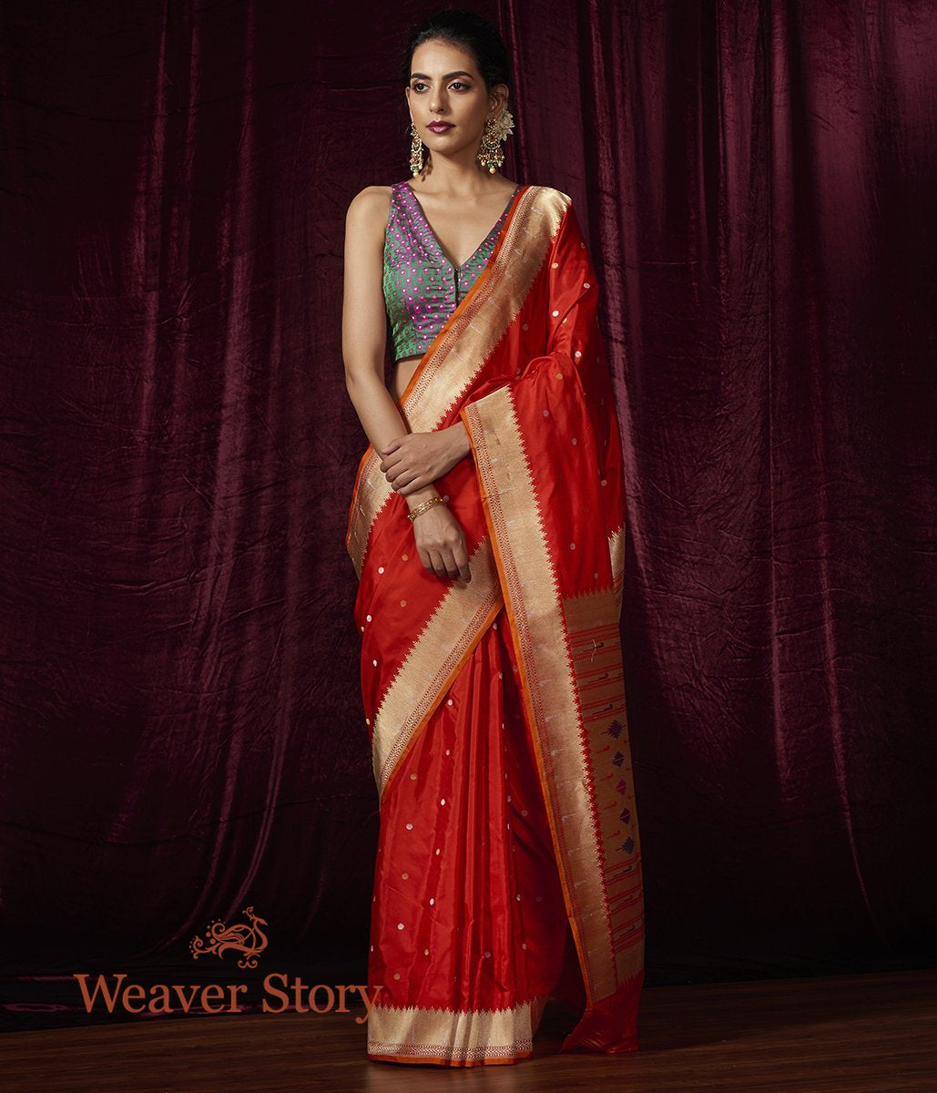 Handwoven Red Katan Silk Saree with Paithani Border