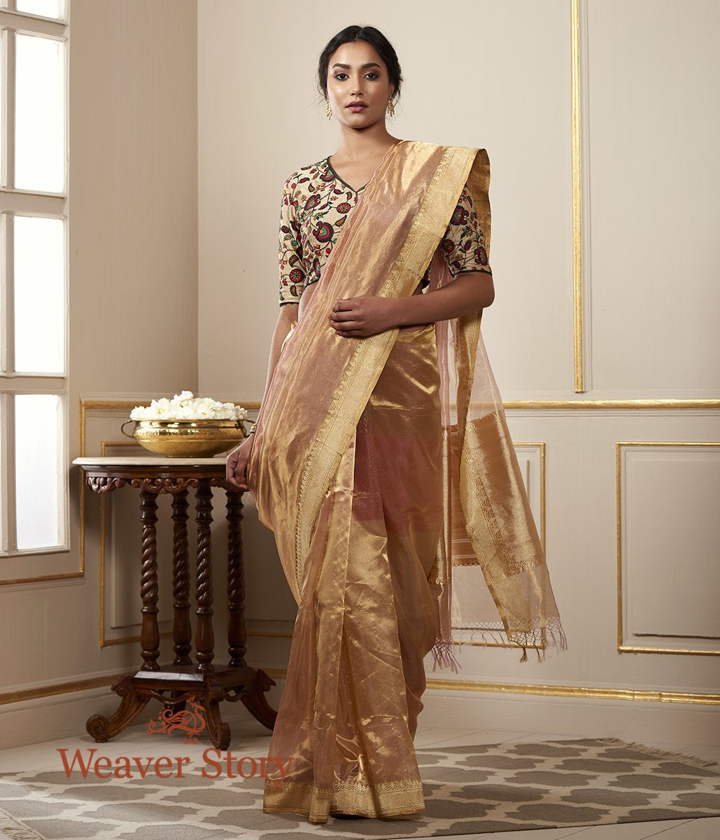 Handwoven Pink and Gold Pure Tissue Rangkat Saree