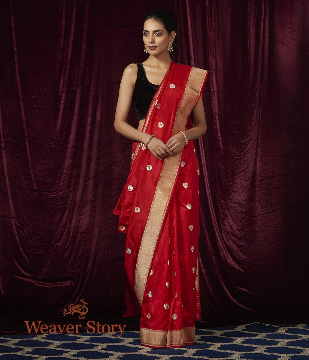 Handwoven Red Chand Boota Saree with Gold Zari