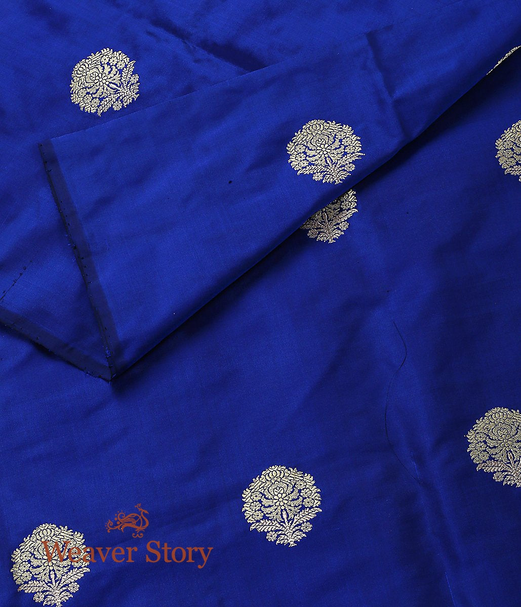 Handwoven Royal Blue Floral Booti Fabric