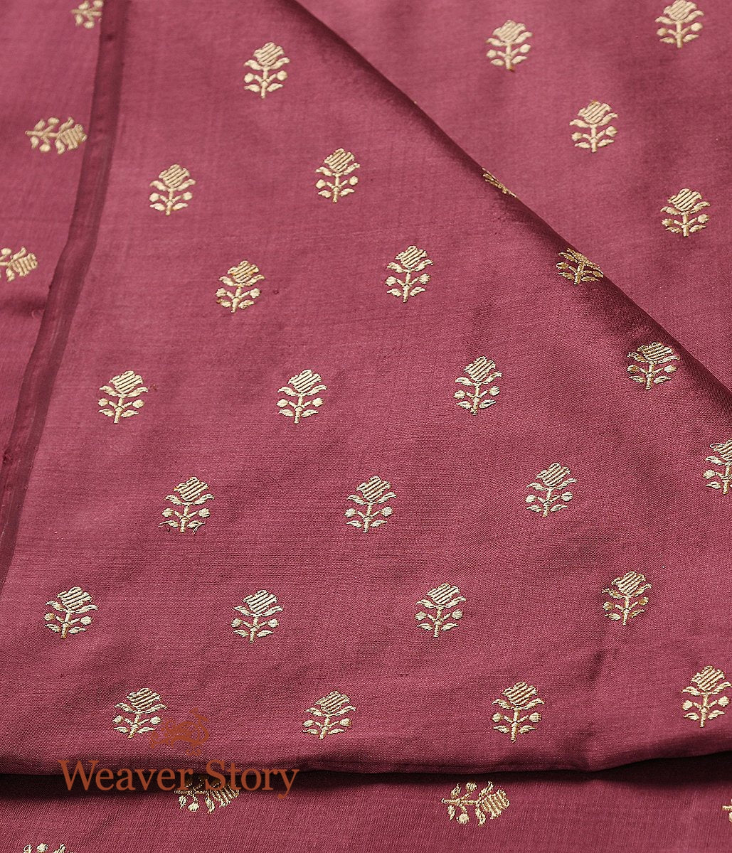 Handwoven Wine Tulsi Booti Gold Zari Fabric