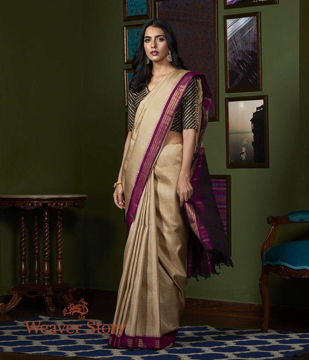 Handwoven Beige Ikat Kanjivaram Saree with Purple Border