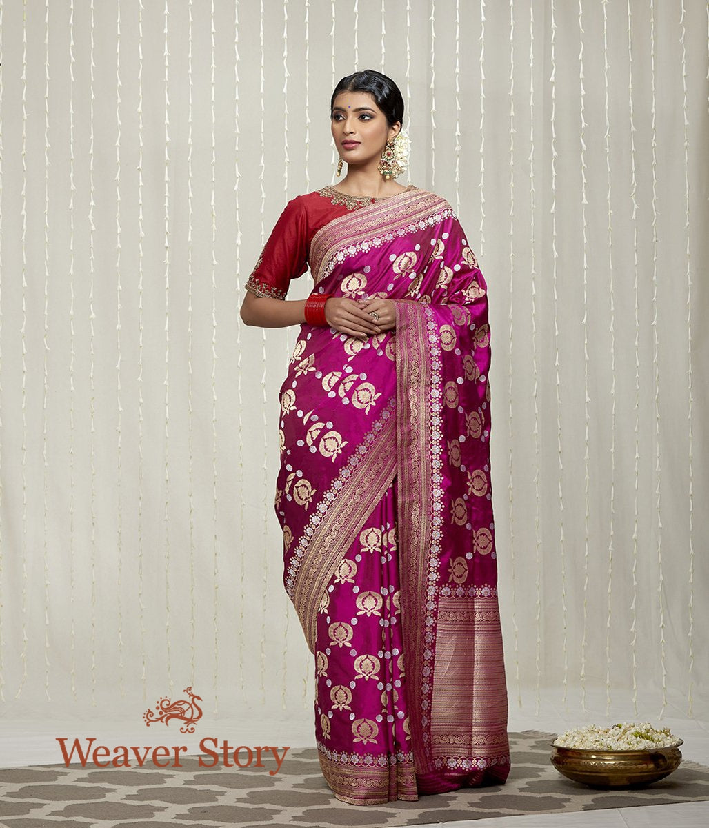 Handwoven Plum Colored Ektara Kadhwa Jangla Saree