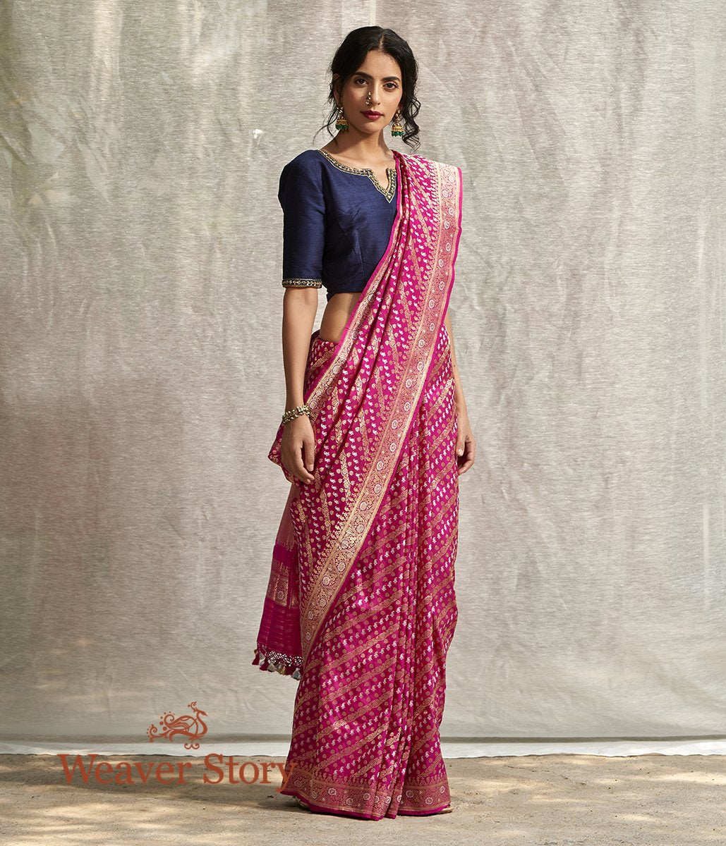 Handwoven Hot Pink Real Zari Sona Rupa Kadhwa Jangla Saree with Small Paisley