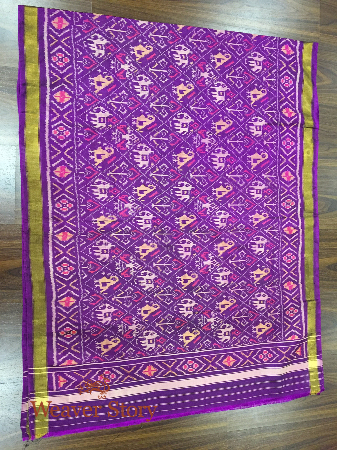 Handwoven Rajkot Patola Silk Dupatta in Purple