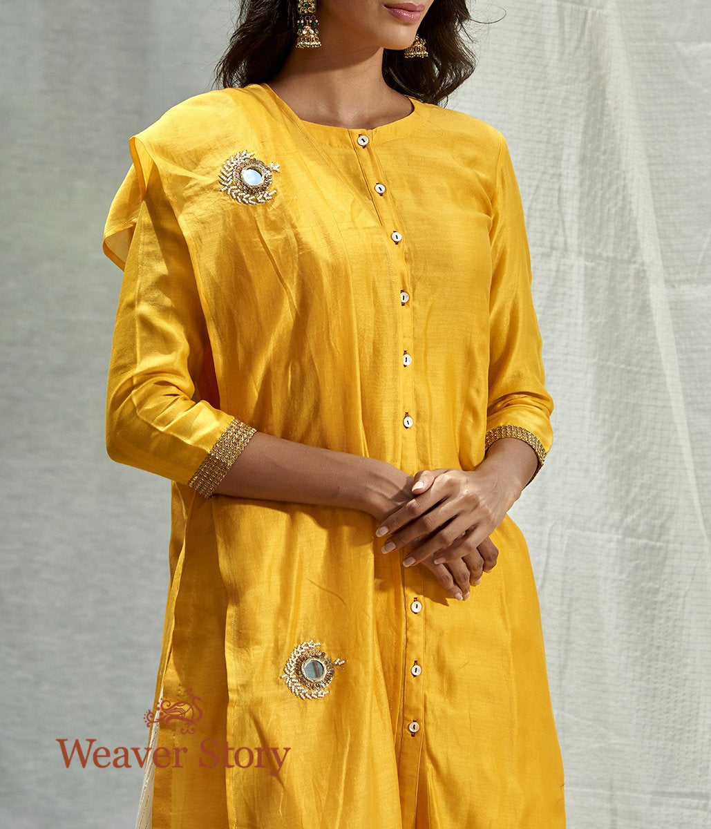 Handwoven Yellow Chanderi Kurta and Skirt with Mirror Work Dupatta
