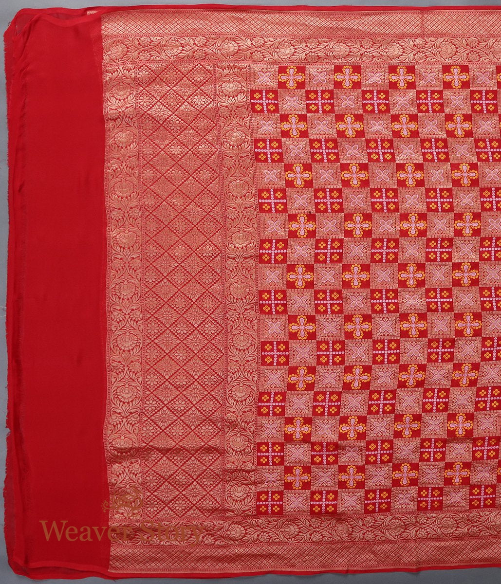 Handwoven Red Banarasi Georgette Dupatta with Bandhej