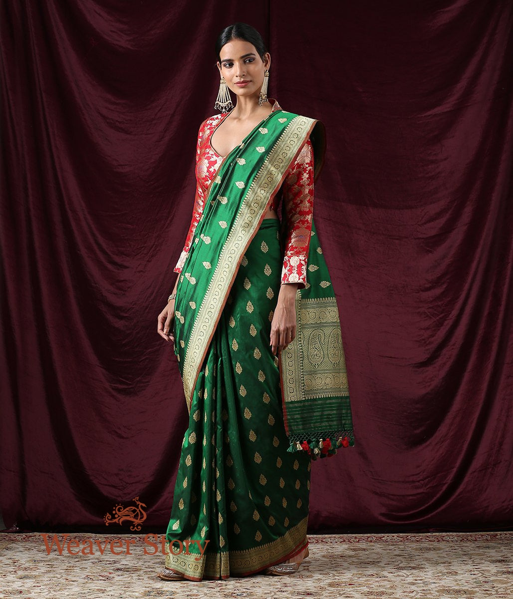 Handwoven Green Kadhwa Booti Saree with Meenakari