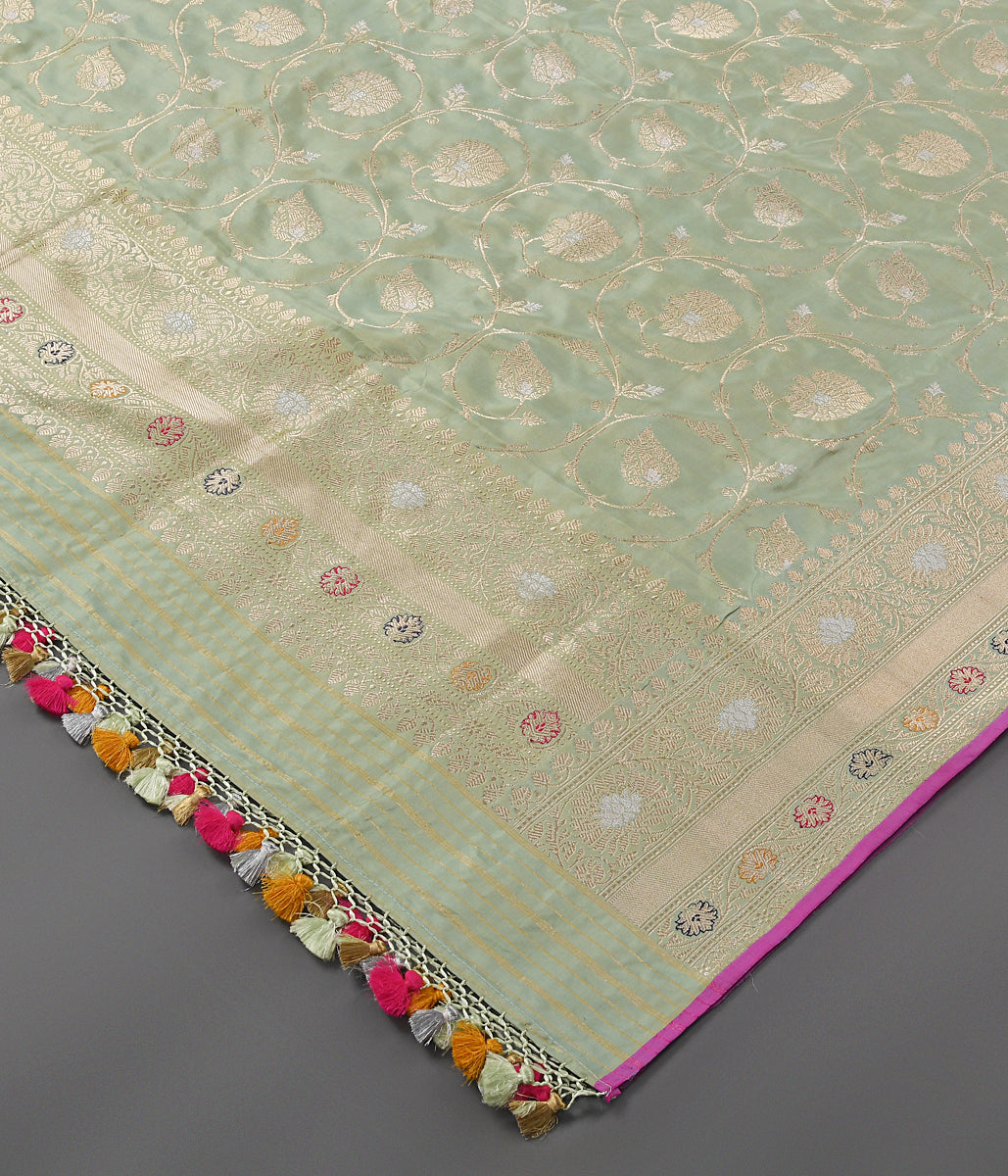Handwoven Light Green Kadhwa Jangla Dupatta