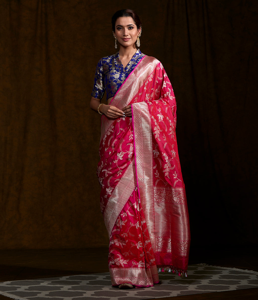Handwoven Hot Pink Kadhwa Jangla Saree with Gold Silver Zari